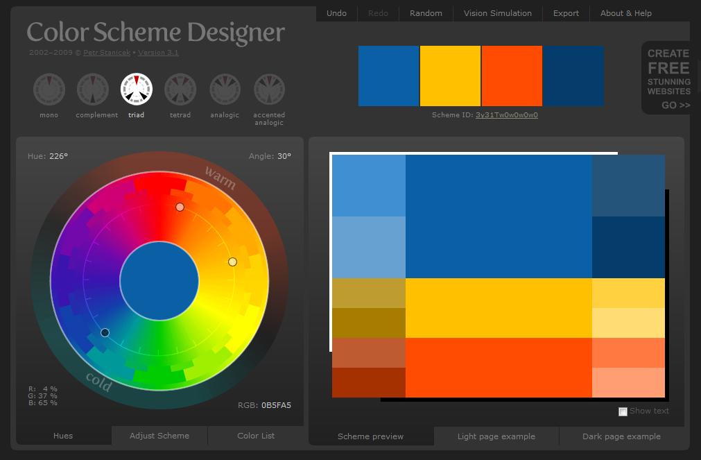 Color Scheme Designer 3 Mocco